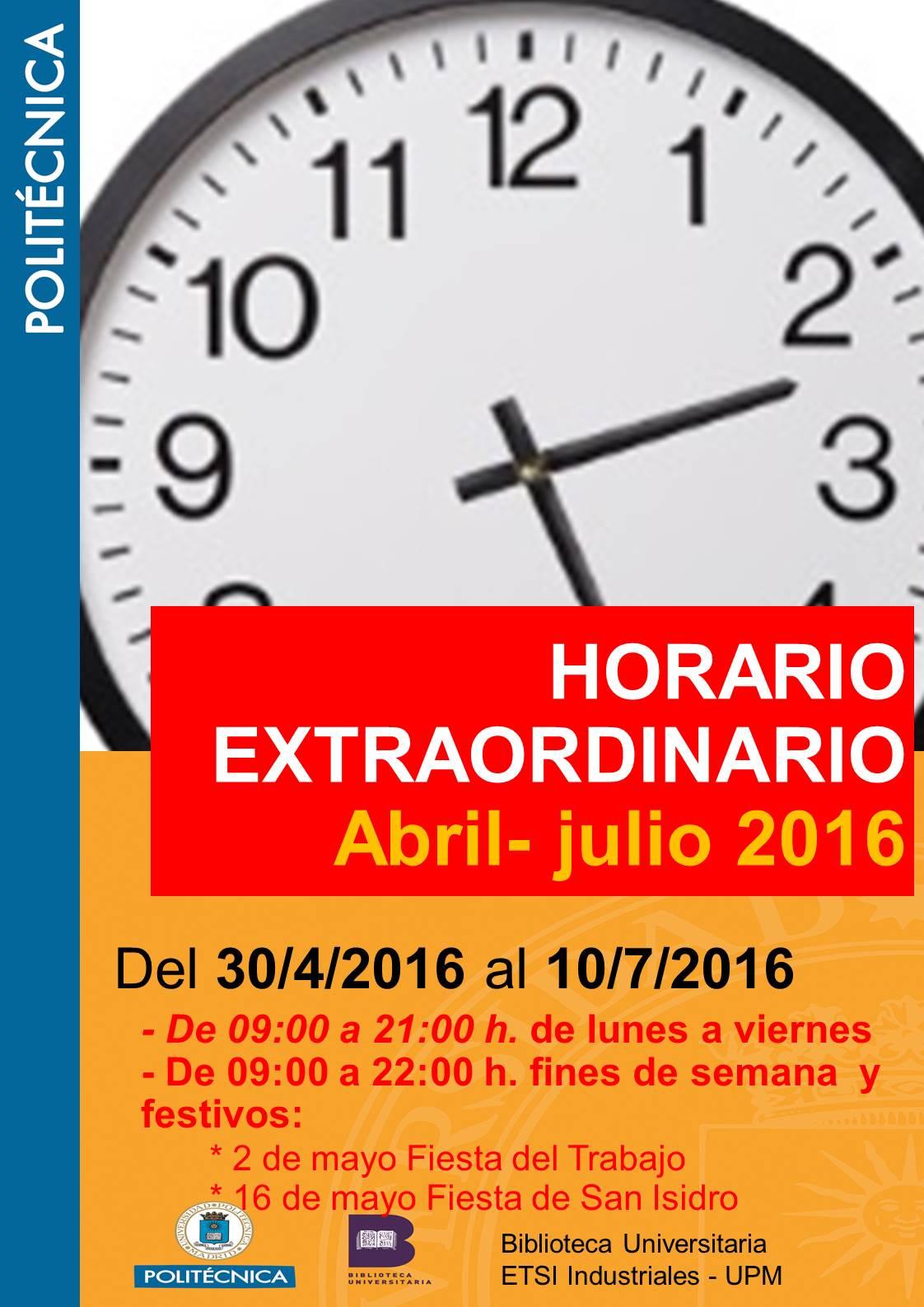 Horario ampliado abril-julio 2016