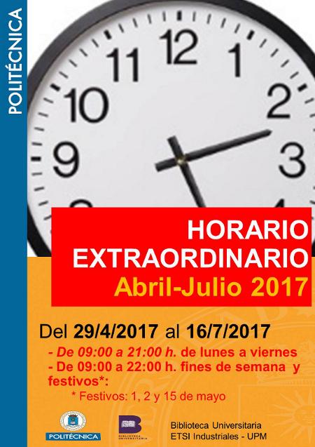 Horario extraordinario abril julio 2017