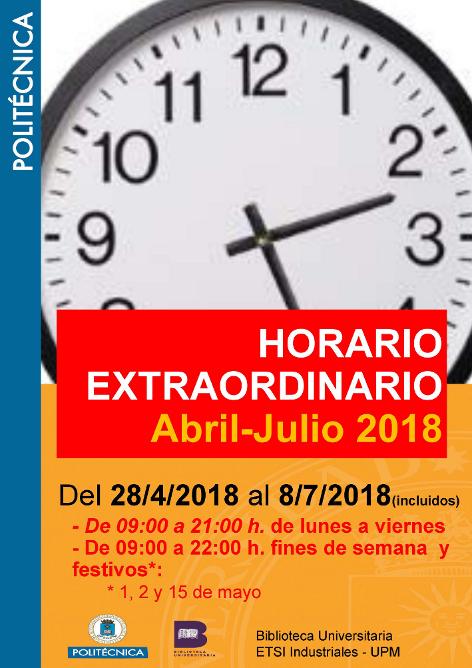 horario extraordinario abril-julio 2018