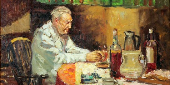 Josep Pla retratado por Joan Martí Aragonés