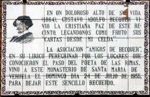 Placa conmemorativa Becquer en Veruela