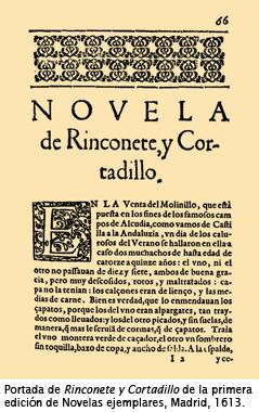 Portada de Rinconete y Cortadillo de la primera edición de Novelas ejemplares, Madrid, 1613.