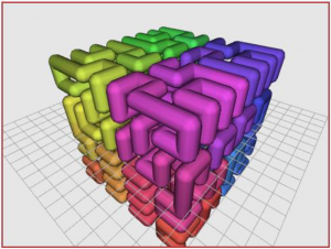 Cubo formado por tuberías de colores en 3D