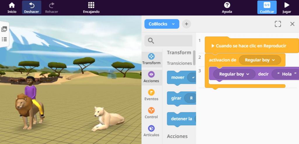 Ejemplo de introducción de código en CoSpaces Edu