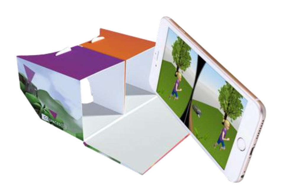 Gafas de cartón de Realidad Virtual. Fuente: CoSpaces Edu