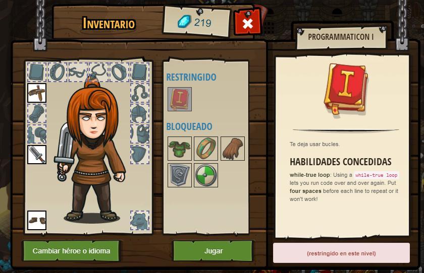 CodeCombat interfaz personaje del usuario