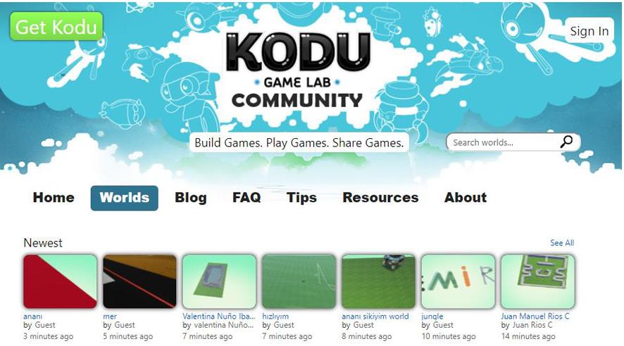 Pantalla inicio mundos Kodu Game Lab