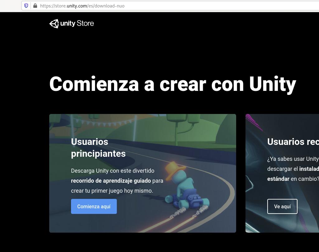 Pantalla inicio website Unity