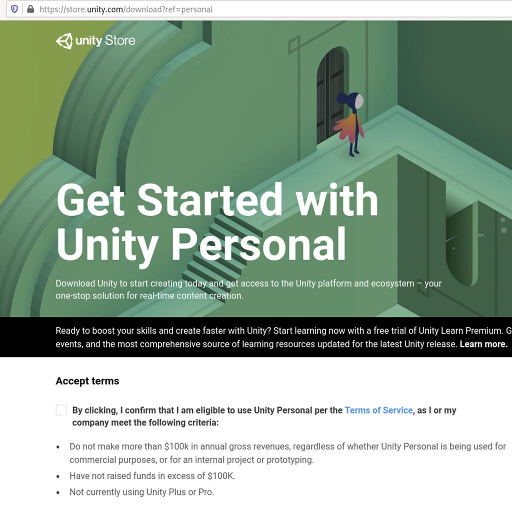 Pantalla creación cuenta website Unity