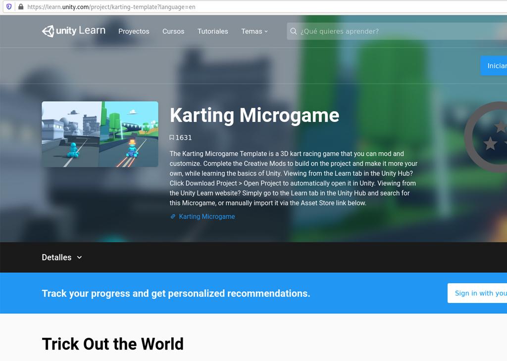 Pantalla tutorial Karting Microgame