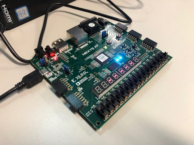 The Nexys A7 FPGA that we use for the VHDL labs.