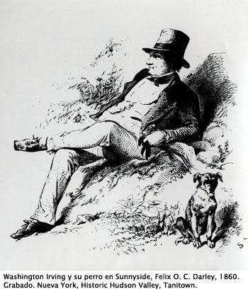 W. Irving y su perro. Felix O.C. Darley, 1860.