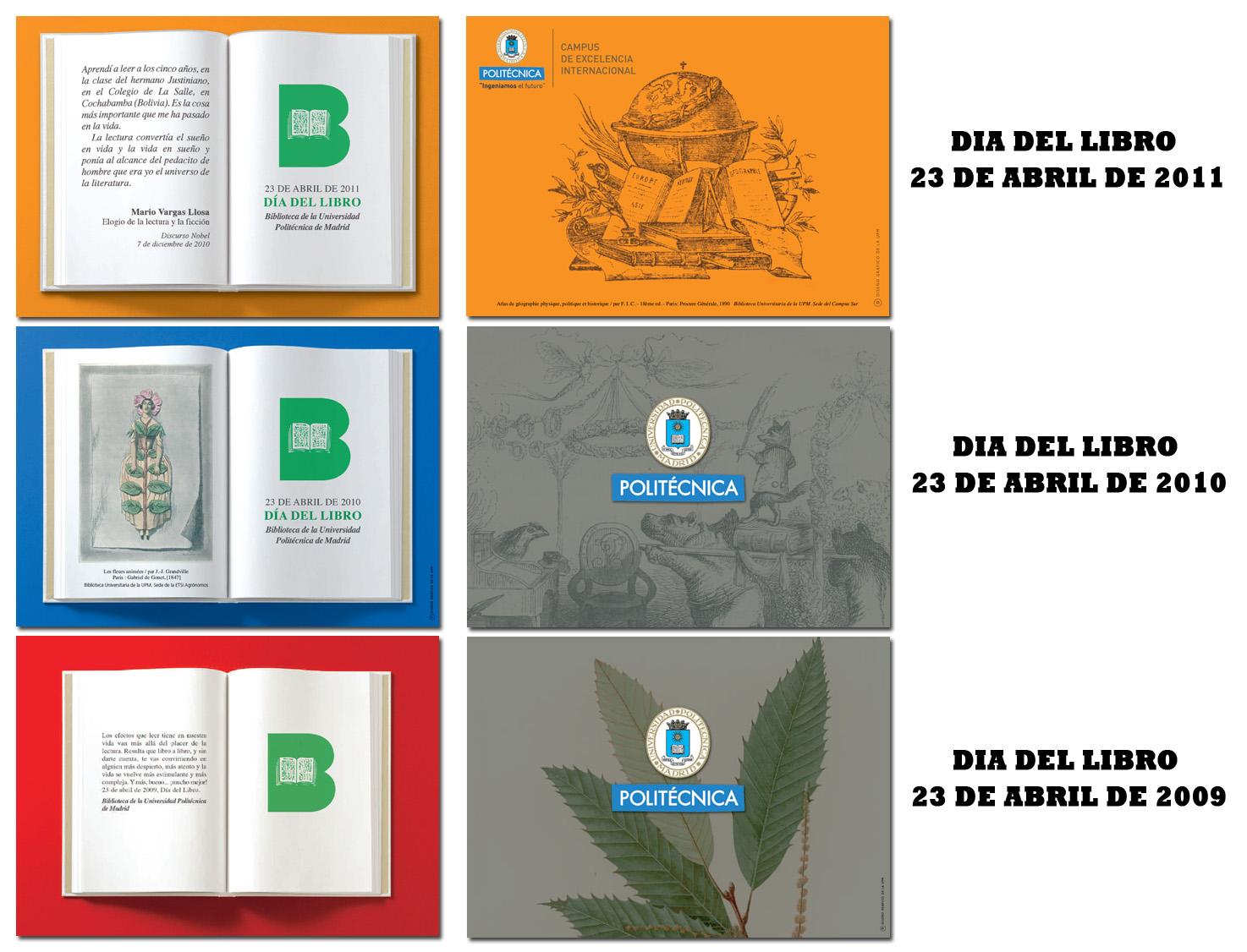 Tarjetones día del libro 2010, 2011, 2012
