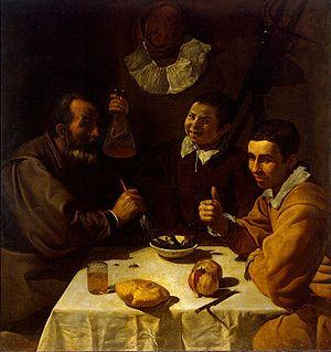 Pintura: Velazquez. El almuerzo. Museo del Hermitage