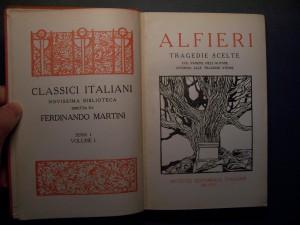 Portada de ejemplar de tragedia en verso de V.A. Alfieri
