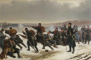 Fra forposterne 1864, de Vilhelm Rosenstand, cuadro que aparece en la introducción de la serie.