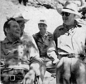 John Wayne con John Ford en el rodaje de The Searchers