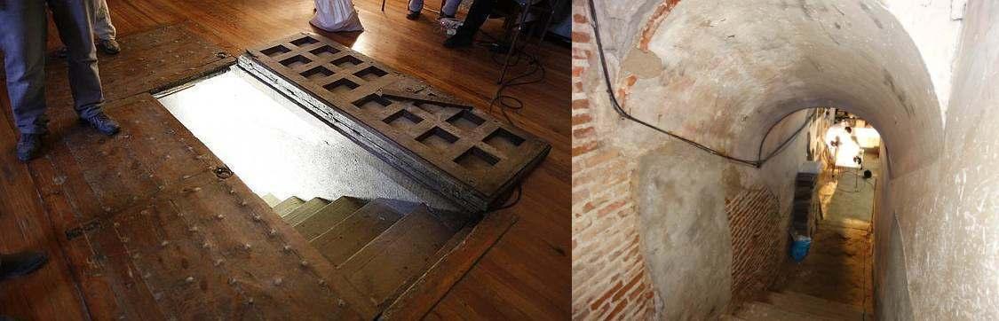 Sacristía del Convento de las Trinitarias. Escalera de acceso a la cripta.