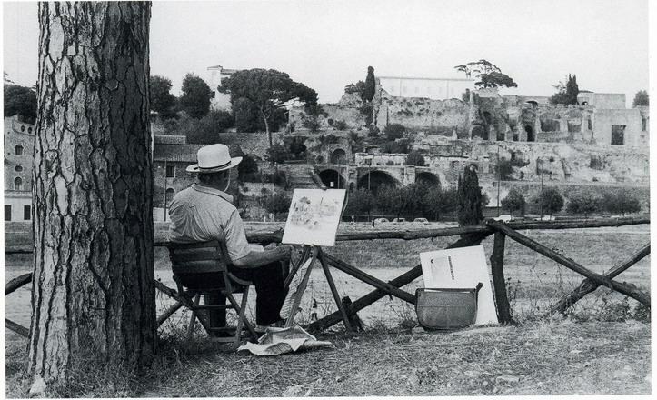Ramon Gaya pintando en Roma 1990