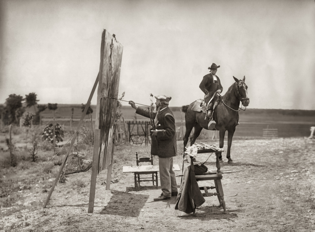 Venancio Gombau. 1913. Sorolla pintando Charro a caballo.