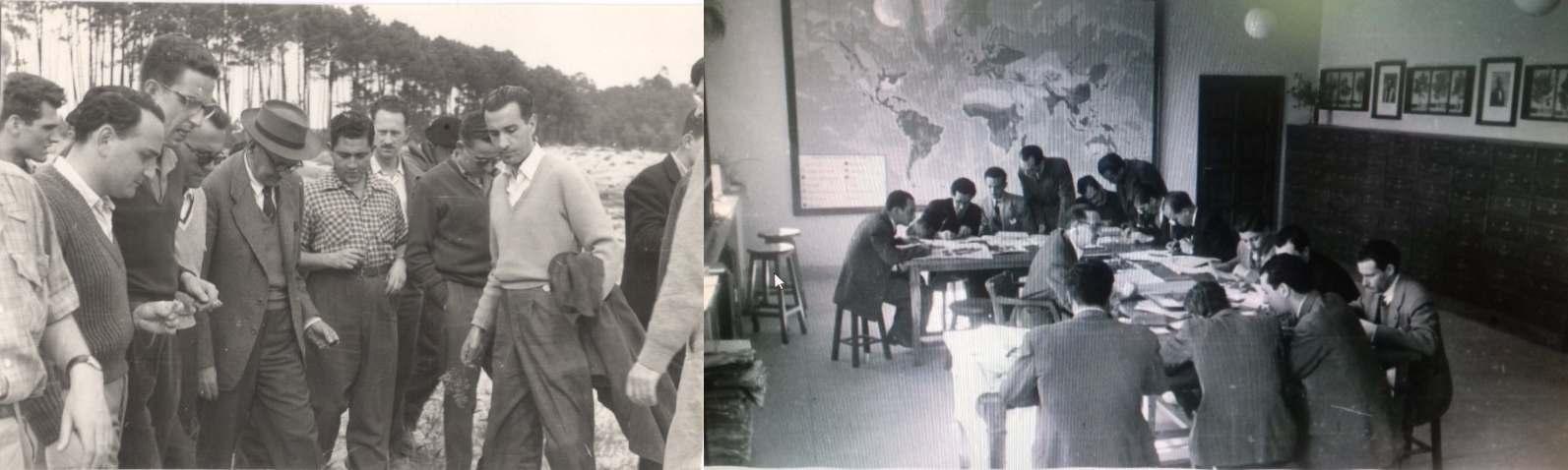 Fotografía: Viaje prácticas a Galicia 1960. Clase de botánica 1945.