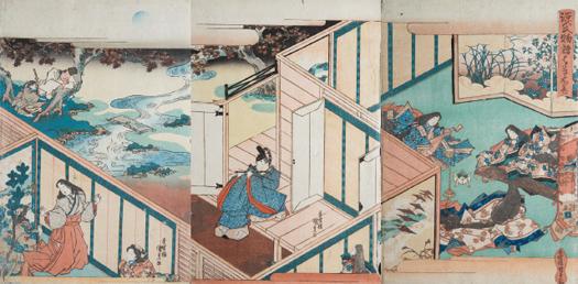 Utagawa Kunisada (Toyokuni III). Tríptico inspirado en la novela Genji Monogatari [La historia de Genji] de Murasaki Shikibu, 1830. Colección Bujalance