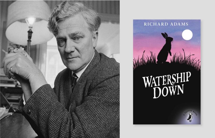 Foto de Richard Adams y carátula del libro en inglés: Watership Down