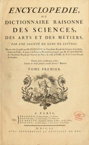 """Portada del primer tomo de la primera edición de la """"Encyclopédie"""". Fuente: Wikimedia Commons (http://minilink.es/442y)."""