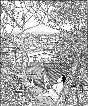 Viñeta de El caminante, Jiro Taniguchi