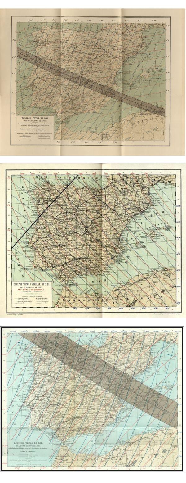 De arriba abajo,las zonas de totalidad de los eclipses de 1900, 1912 y 1905.