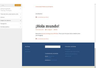 imagen de la configuración de personalización del tema