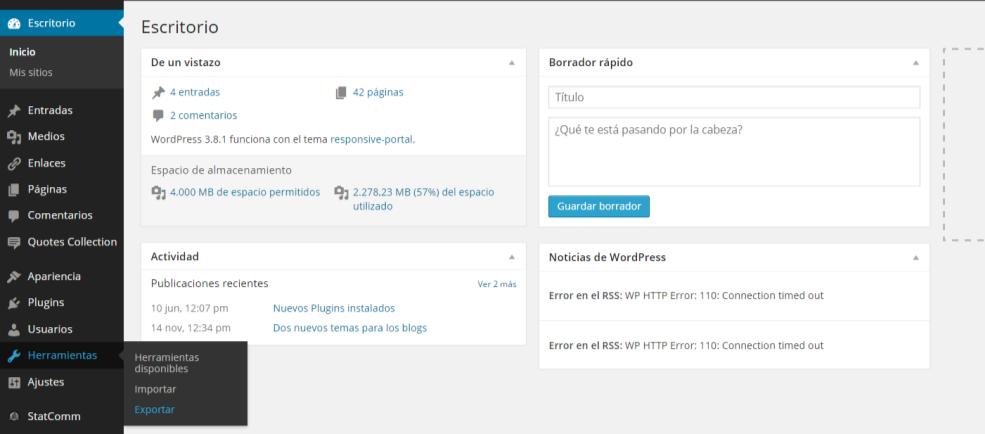 imagen de acceso a exportar un blog