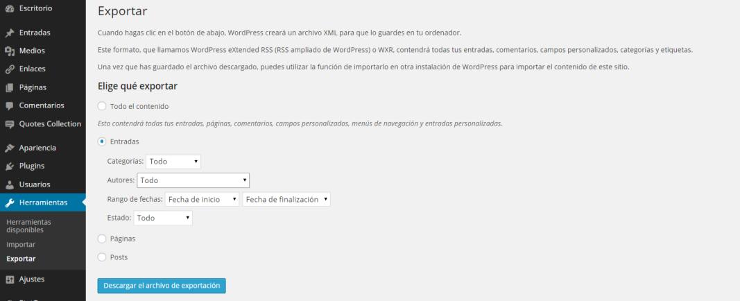 imagen configuración de exportar