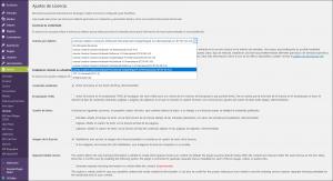 imagen de la pagina de configuración de las licencias
