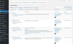 imagen del panel de administración de los comentarios publicados en las entradas y páginas del blog