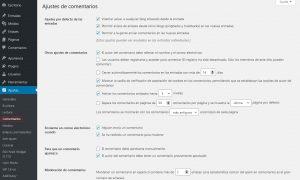 configuración de los ajustes de los comentarios del blog