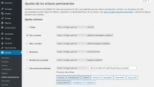configuración de los ajustes de la url del blog
