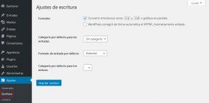 configuración de los ajustes de escritura, como los formatos, del blog