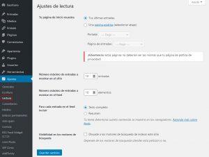 configuración de los ajustes lectura del blog como la página de inicio, página de entradas, etc.
