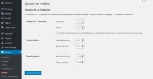configuración de los ajustes del tamaño de las imágenes del blog