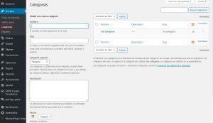 panel de administración de las categorías de las entradas del blog