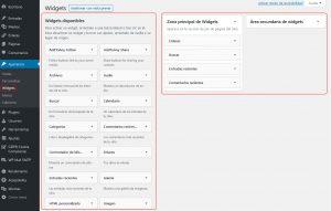 imagen del panel de administración de los bloques de widget del blog