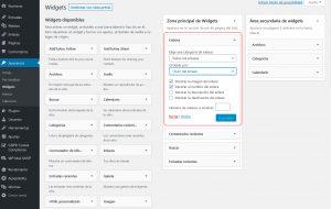 configuración individual de las opciones de cada widget