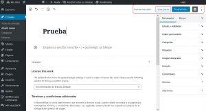imagen de los botones de publicación o vista previa del editor de texto gutenberg