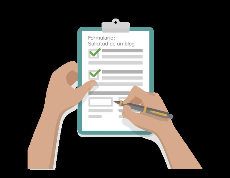 Imagen de dos manos rellenando un formulario