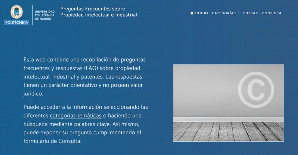 Imagen de la web de propiedad intelectual